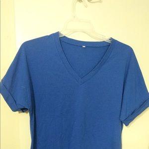 Blue women's V-neck t-shirt
